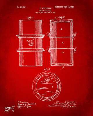 1905 Oil Drum Patent Artwork - Red Poster by Nikki Marie Smith