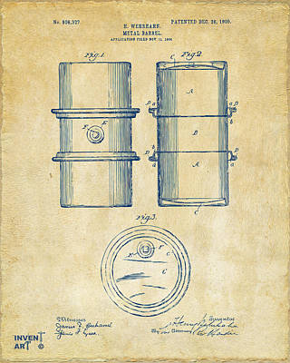 1905 Oil Drum Patent Artwork - Vintage Poster by Nikki Marie Smith