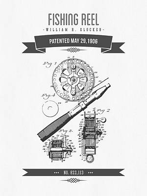 1906 Fishing Reel Patent Drawing Poster by Aged Pixel
