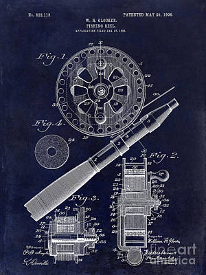 1906 Fishing Reel Patent Drawing Blue Poster by Jon Neidert