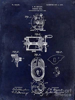 1906 Fishing Reel Patent Drawing.blue Poster by Jon Neidert