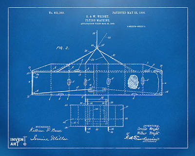 1906 Wright Brothers Airplane Patent Blueprint Poster