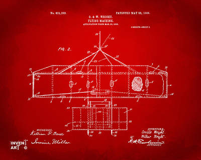 1906 Wright Brothers Airplane Patent Red Poster