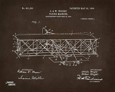 1906 Wright Brothers Flying Machine Patent Espresso Poster