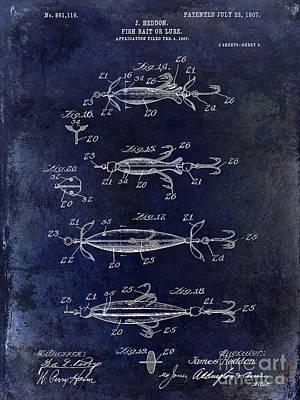 1907 Fishing Lure Patent Blue Poster by Jon Neidert
