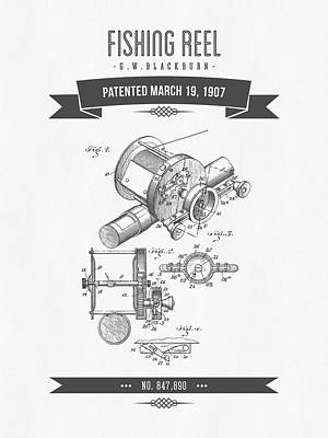 1907 Fishing Reel Patent Drawing Poster by Aged Pixel