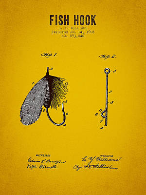 1908 Fish Hook Patent - Yellow Brown Poster by Aged Pixel