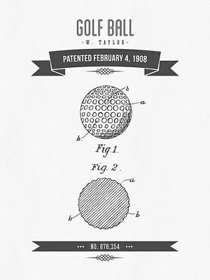 1908 Taylor Golf Ball Patent Drawing - Retro Gray Poster by Aged Pixel