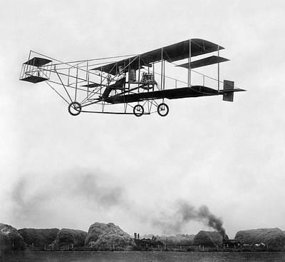1909 Era Of Technology - Aeroplane And Steam Engine Poster