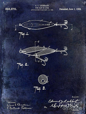 1909 Fishing Lure Patent Drawing Blue Poster