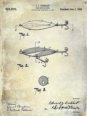 1909 Fishing Lure Patent Drawing Poster