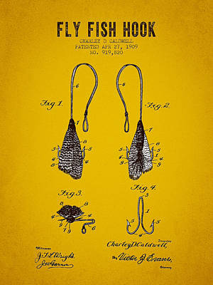 1909 Fly Fish Hook Patent - Yellow Brown Poster by Aged Pixel