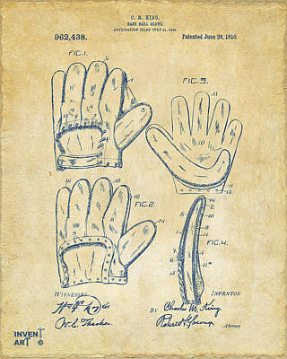 1910 Baseball Glove Patent Artwork Vintage Poster by Nikki Marie Smith