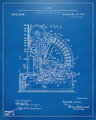 1910 Cash Register Patent Blueprint Poster by Nikki Marie Smith
