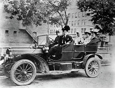 1910s Group Of Five Sitting In Car Poster