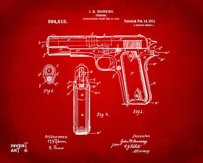 1911 Colt 45 Browning Firearm Patent Artwork Red Poster by Nikki Marie Smith
