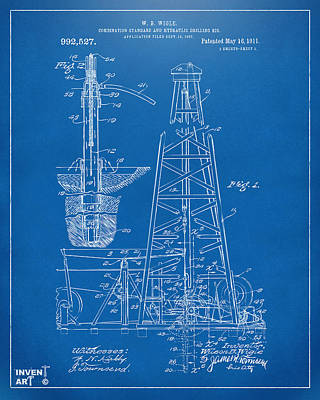 1911 Oil Drilling Rig Patent Artwork - Blueprint Poster by Nikki Marie Smith