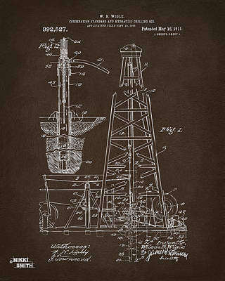 1911 Oil Drilling Rig Patent Artwork - Espresso Poster by Nikki Marie Smith