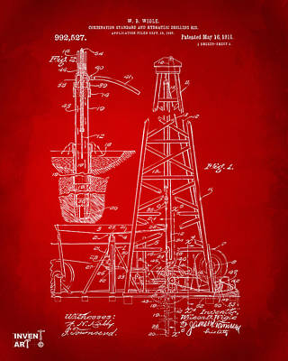 1911 Oil Drilling Rig Patent Artwork - Red Poster by Nikki Marie Smith