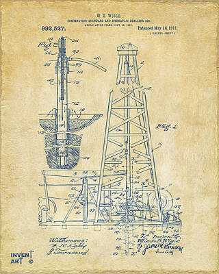 1911 Oil Drilling Rig Patent Artwork - Vintage Poster by Nikki Marie Smith