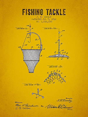 1912 Fishing Tackle Patent - Yellow Brown Poster by Aged Pixel