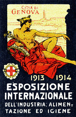 1913 Genoa Italy Industrial Exposition Poster by Historic Image