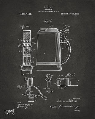 1914 Beer Stein Patent Artwork - Gray Poster