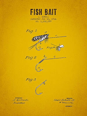 1914 Fish Bait Patent - Yellow Brown Poster by Aged Pixel