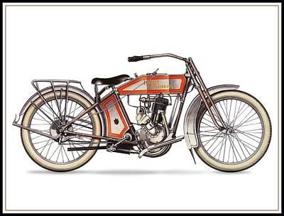 1914 Harley Davidson 35ci Model 10b Poster
