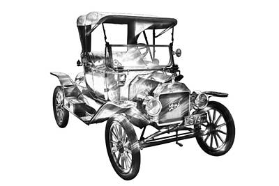 1914  Model T Ford Antique Car Illustration Poster by Keith Webber Jr