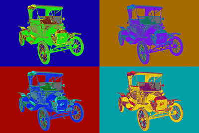 1914 Model T Ford Antique Car Pop Art Poster by Keith Webber Jr