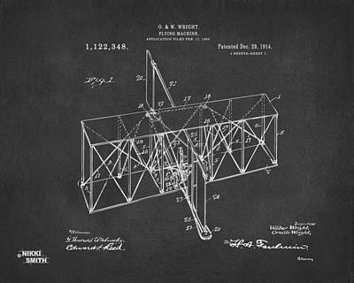 Poster featuring the drawing 1914 Wright Brothers Flying Machine Patent Gray by Nikki Marie Smith