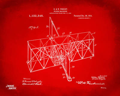 Poster featuring the drawing 1914 Wright Brothers Flying Machine Patent Red by Nikki Marie Smith