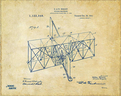 Poster featuring the drawing 1914 Wright Brothers Flying Machine Patent Vintage by Nikki Marie Smith