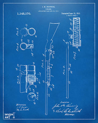 1915 Ithaca Shotgun Patent Blueprint Poster by Nikki Marie Smith