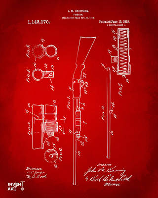 1915 Ithaca Shotgun Patent Red Poster by Nikki Marie Smith