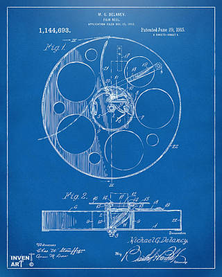 1915 Movie Film Reel Patent Blueprint Poster