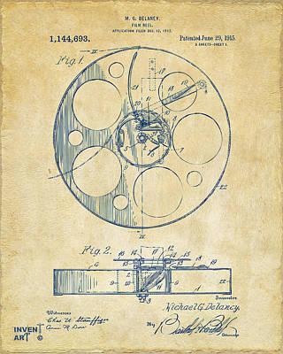 1915 Movie Film Reel Patent Vintage Poster by Nikki Marie Smith