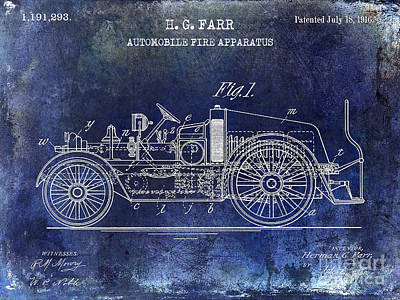 1916 Automobile Fire Apparatus Patent Drawing Blue Poster