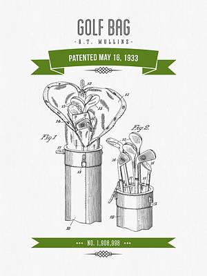 1916 Golf Bag Patent Drawing - Retro Green Poster