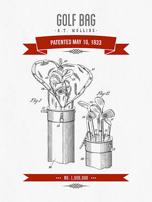 1916 Golf Bag Patent Drawing - Retro Red Poster by Aged Pixel