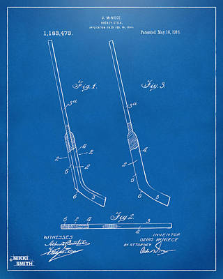 1916 Hockey Goalie Stick Patent Artwork - Blueprint Poster by Nikki Marie Smith