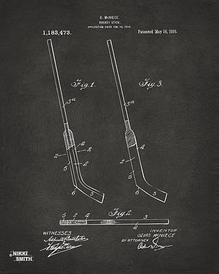 1916 Hockey Goalie Stick Patent Artwork - Gray Poster by Nikki Marie Smith