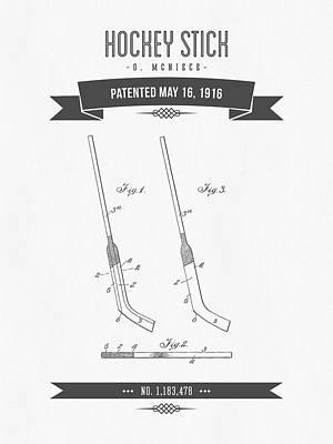1916 Hockey Stick Patent Drawing - Retro Gray Poster
