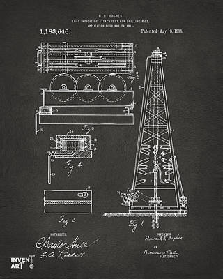 1916 Oil Drilling Rig Patent Artwork - Gray Poster by Nikki Marie Smith