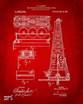 1916 Oil Drilling Rig Patent Artwork - Red Poster by Nikki Marie Smith