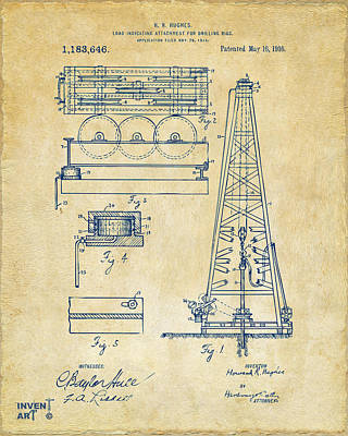 1916 Oil Drilling Rig Patent Artwork - Vintage Poster by Nikki Marie Smith