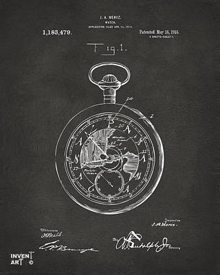 1916 Pocket Watch Patent Gray Poster by Nikki Marie Smith