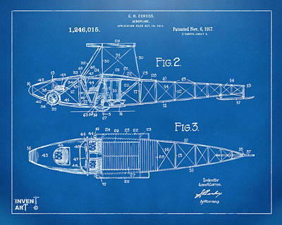1917 Glenn Curtiss Aeroplane Patent Artwork 2 Blueprint Poster