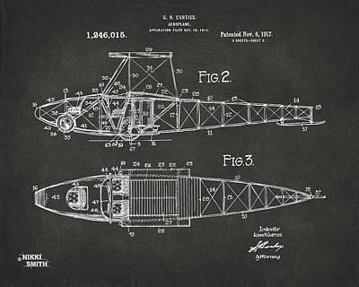 1917 Glenn Curtiss Aeroplane Patent Artwork 2 - Gray Poster